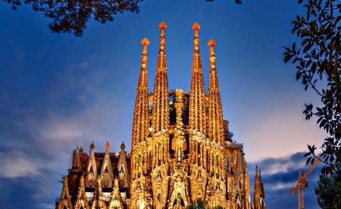 Temple of Sagrada Familia in Spain