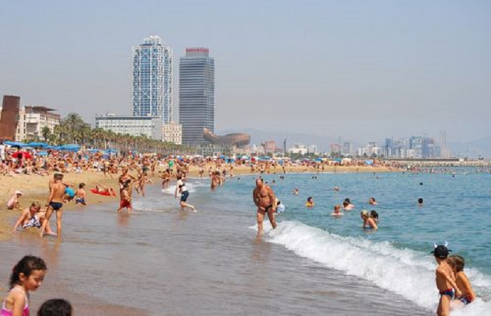 Sant Sebastiá beach in Barcelona