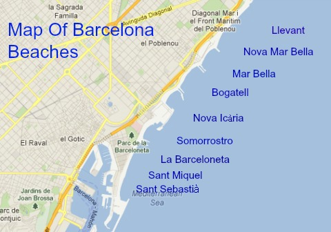 Map of beaches in Barcelona